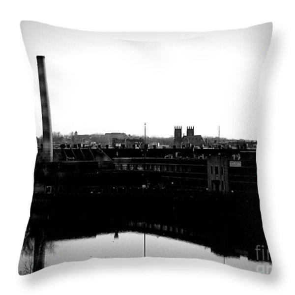 Riverside Industrialism Throw Pillow by James Aiken