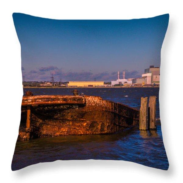 Riverside Wreck Throw Pillow by Dawn OConnor