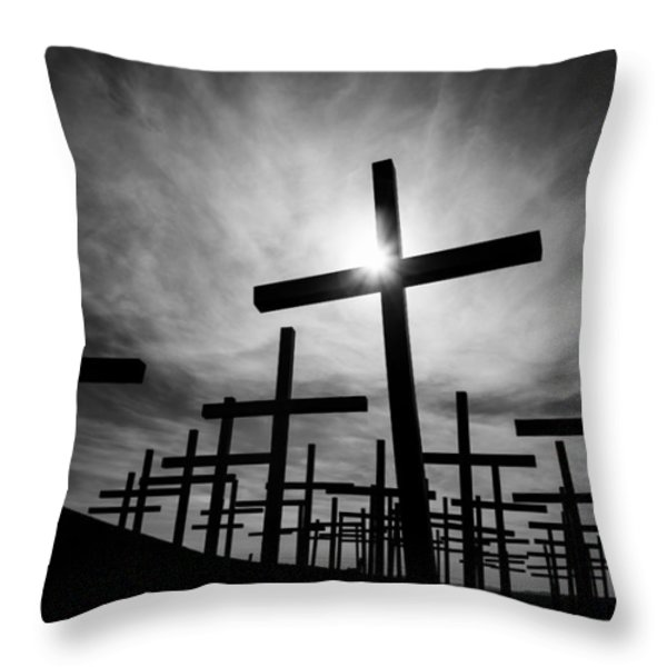 Roadside Memorial Throw Pillow by Dave Bowman