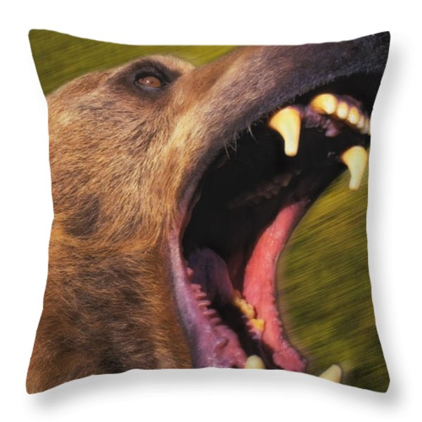 Roaring Grizzly Bears Face Rocky Throw Pillow by Thomas Kitchin & Victoria Hurst