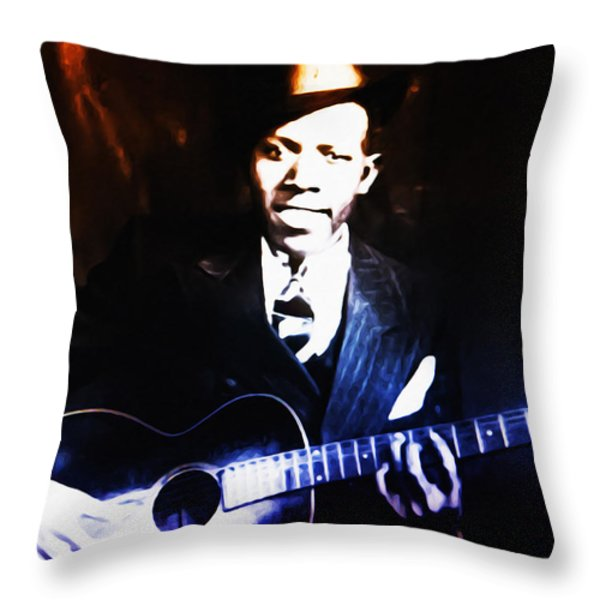 Robert Johnson - King Of The Blues Throw Pillow by Bill Cannon