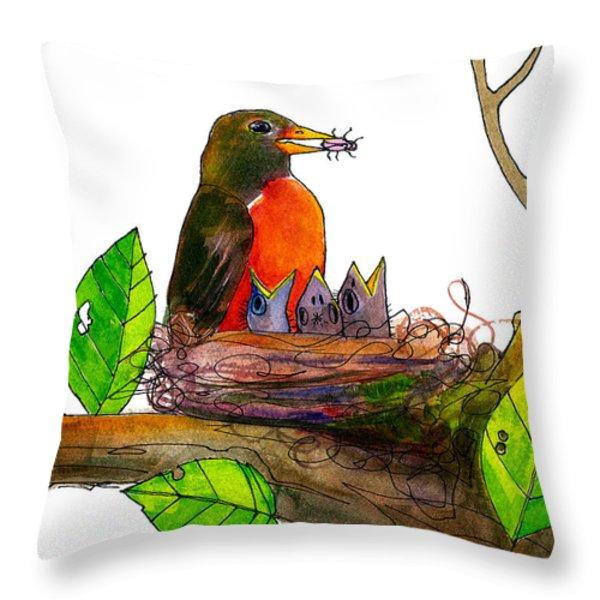 Robin Love Bug Throw Pillow by Blenda Studio