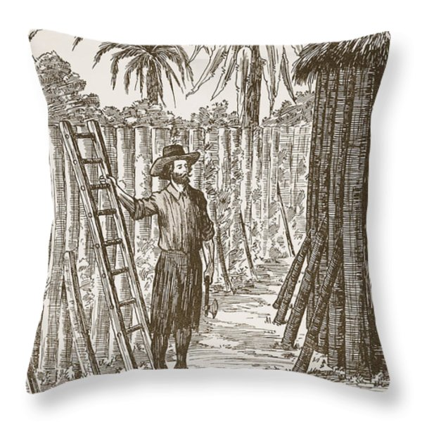 Robinson Crusoe Building His Bower Throw Pillow by English School