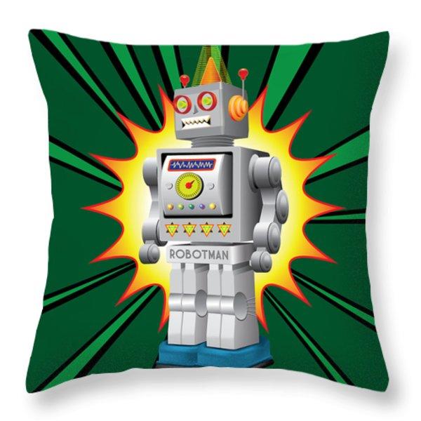 Robotman Throw Pillow by Gary Grayson