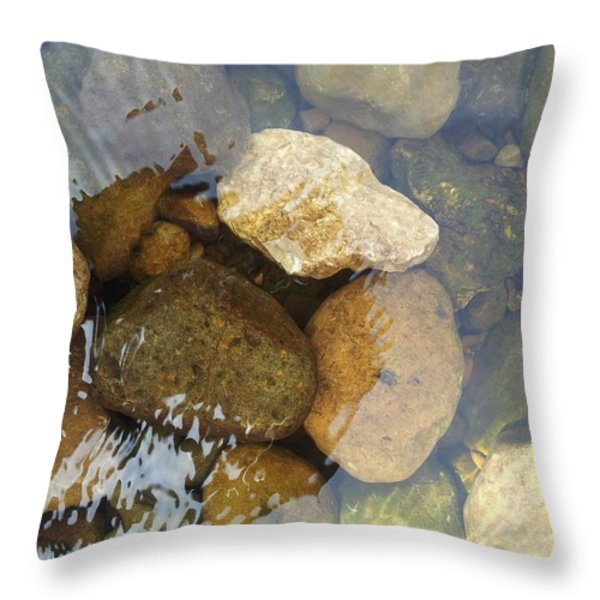 Rock And Pebbles Throw Pillow by David Stribbling