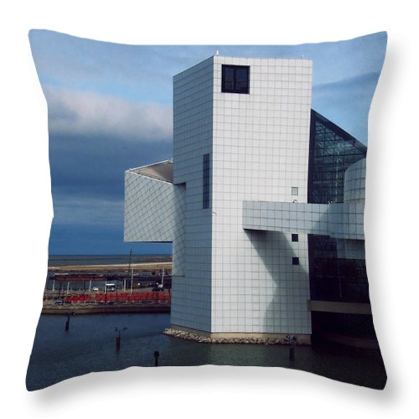 Rock And Roll Hall Of Fame Throw Pillow by Shawna  Rowe