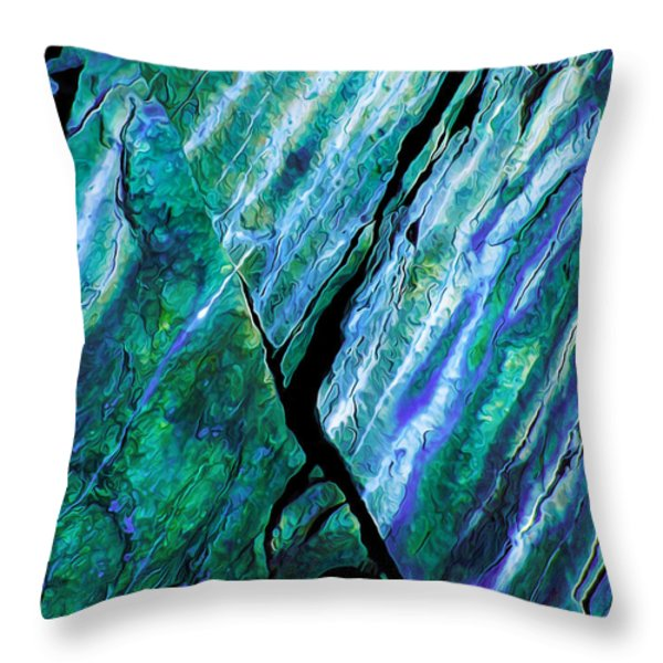 Rock Art 16 in Teal n Violet Throw Pillow by Bill Caldwell -        ABeautifulSky Photography