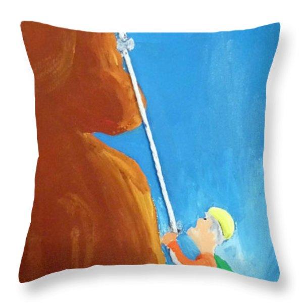 Rock Climber Throw Pillow by Jera Sky