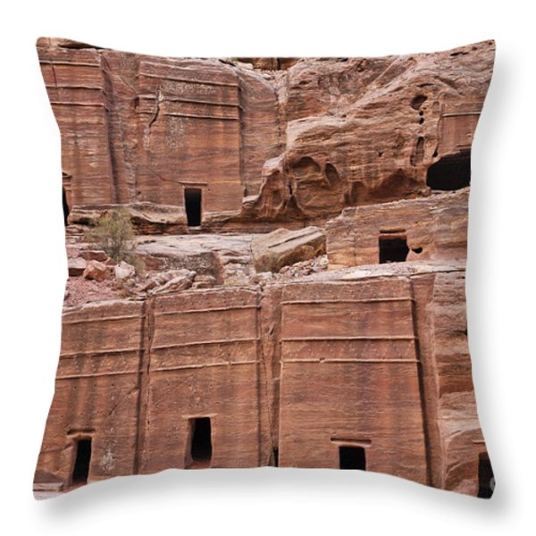 Rock Cut Tombs On The Street Of Facades In Petra Jordan Throw Pillow by Robert Preston