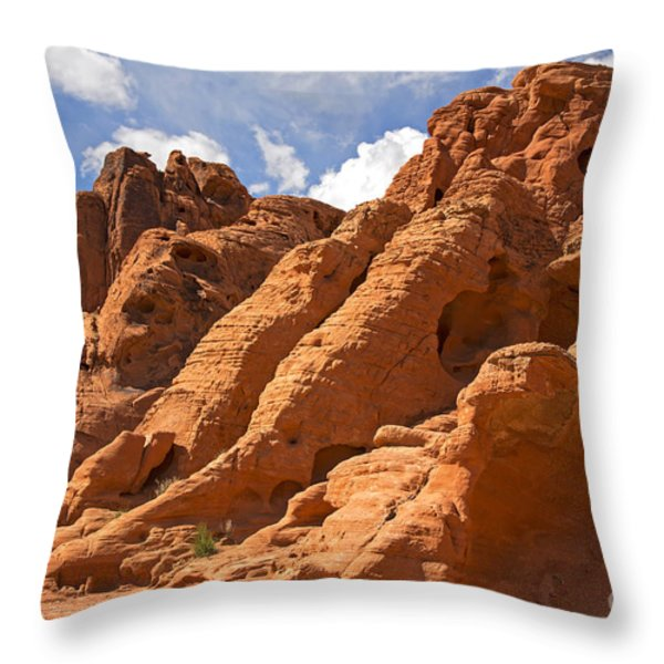 Rock Formations In The Valley Of Fire Throw Pillow by Jane Rix