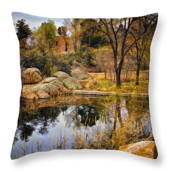 Rock House at Granite Dells Throw Pillow by Priscilla Burgers