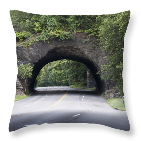 Rock Tunnel on Kelly Drive Throw Pillow by Bill Cannon