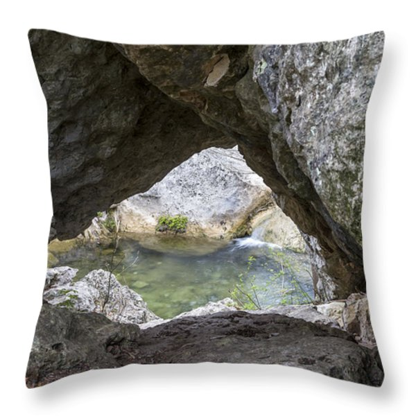 Rock Window Throw Pillow by David Morefield