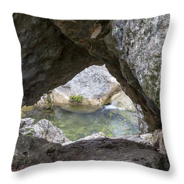 Rock Window Throw Pillow by David Morefield