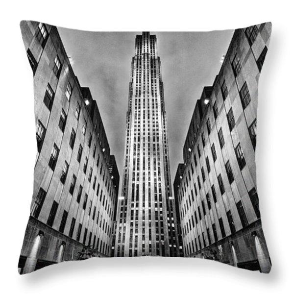 rockefeller centre Throw Pillow by John Farnan