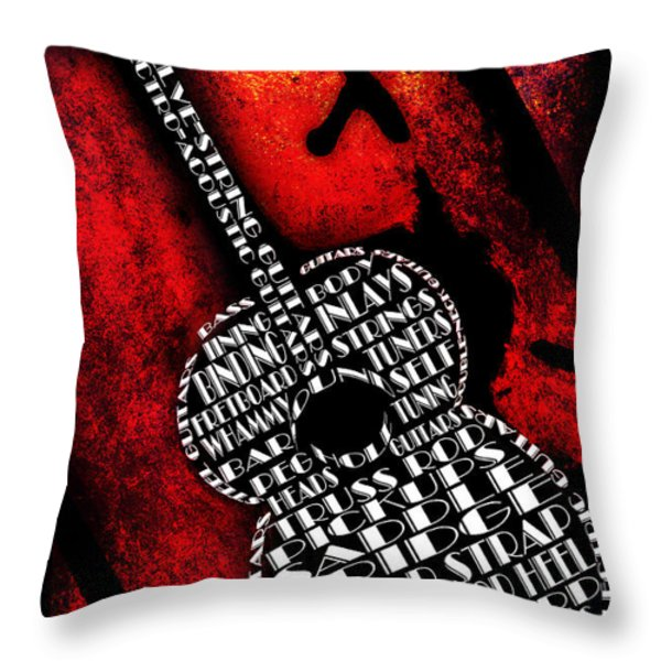 Rockin Guitar In Red Typography Throw Pillow by Andee Design