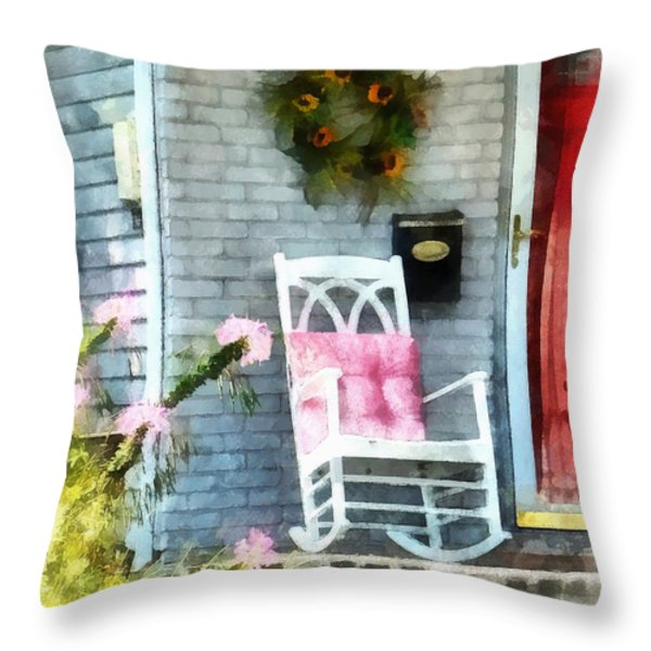Rocking Chair With Pink Pillow Throw Pillow by Susan Savad