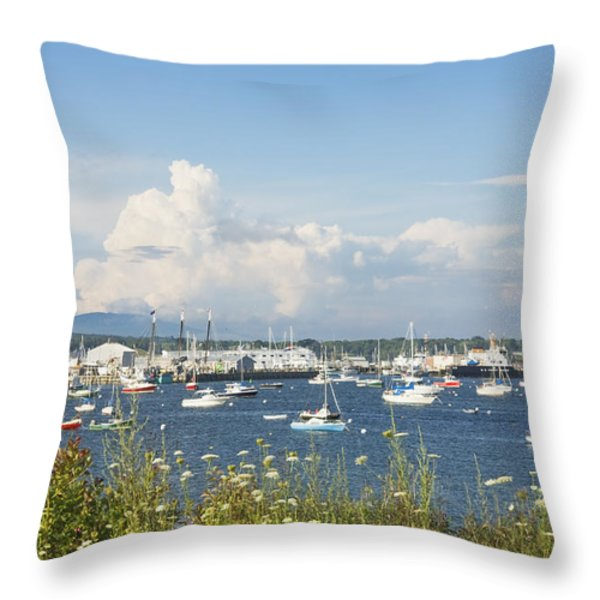Rockland Harbor on the Coast of Maine Throw Pillow by Keith Webber Jr