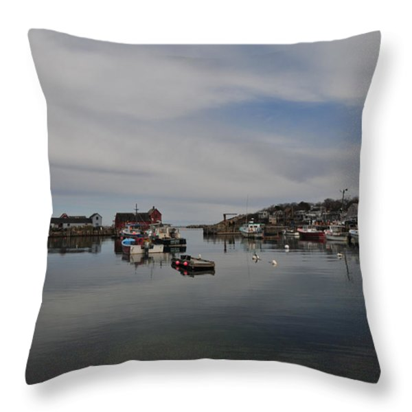 Rockport Harbor Throw Pillow by Mike Martin