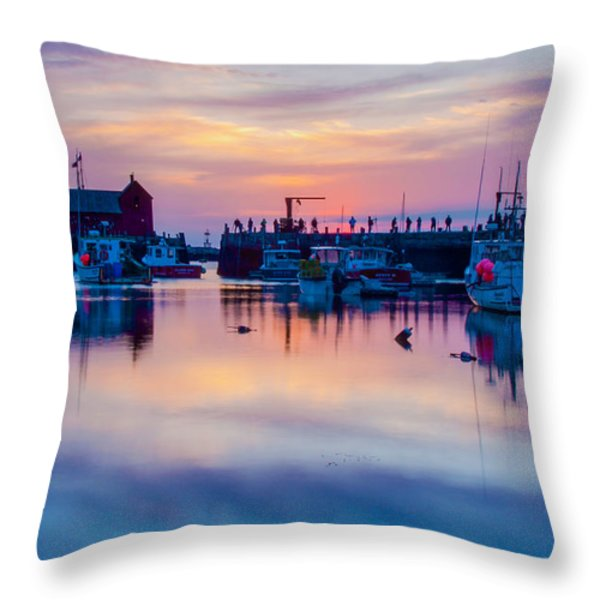Rockport harbor sunrise over Motif #1 Throw Pillow by Jeff Folger