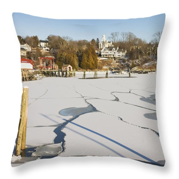 Rockport Maine in Winter Throw Pillow by Keith Webber Jr