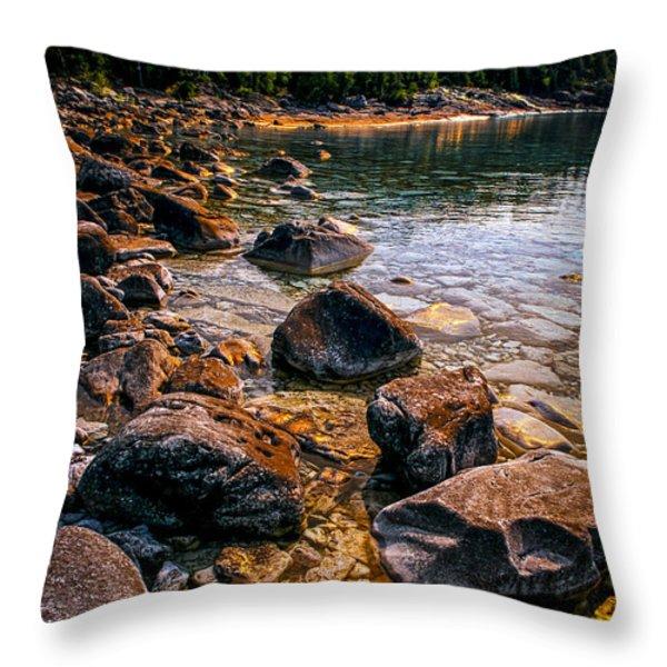 Rocks at shore of Georgian Bay Throw Pillow by Elena Elisseeva