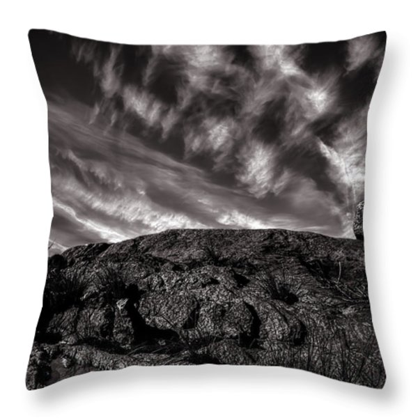Rocks Clouds Water Throw Pillow by Bob Orsillo