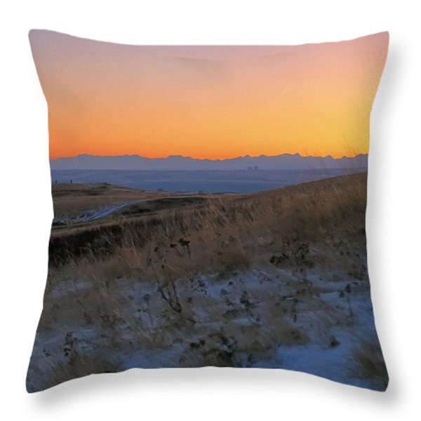 Rocky Mountain Sunset Throw Pillow by Terry Reynoldson
