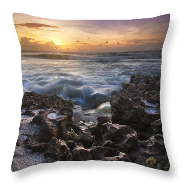 Rocky Shore Throw Pillow by Debra and Dave Vanderlaan