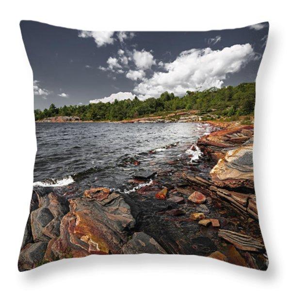 Rocky shore of Georgian Bay I Throw Pillow by Elena Elisseeva