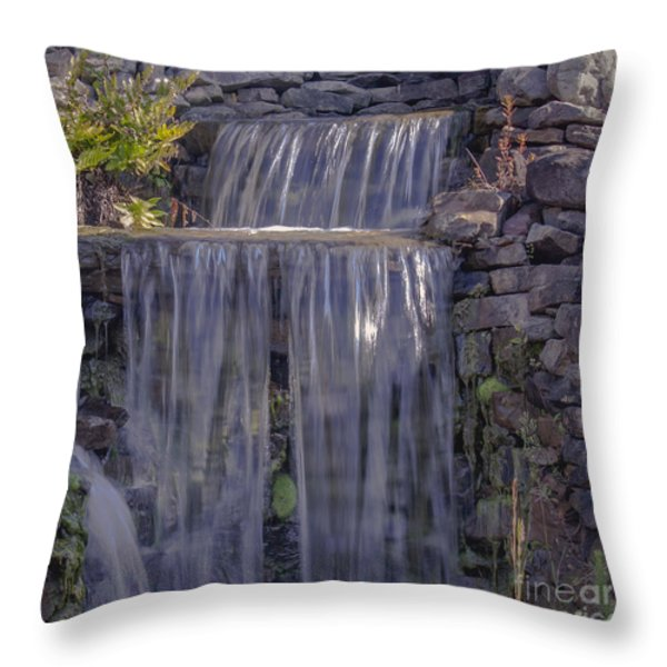 Rocky Waterfall Throw Pillow by Michael Waters