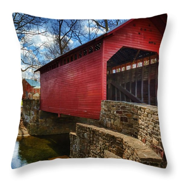 Roddy Road Covered Bridge Throw Pillow by Joan Carroll