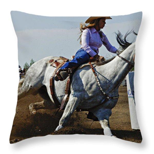 Rodeo Barrel Racer Throw Pillow by Bob Christopher