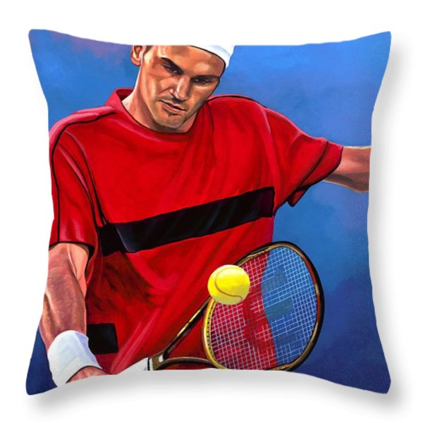 Roger Federer 2 Throw Pillow by Paul  Meijering
