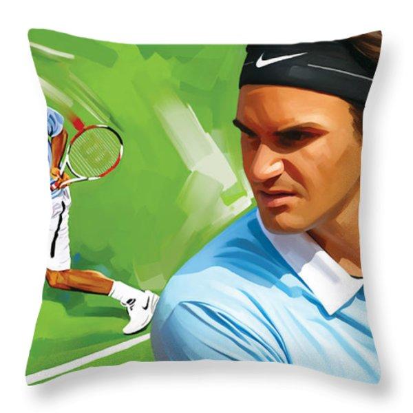 Roger Federer Artwork Throw Pillow by Sheraz A