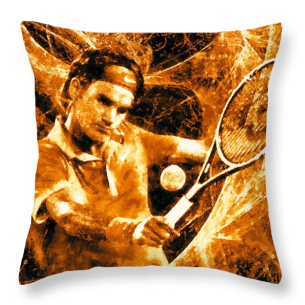 Roger Federer Clay Throw Pillow by RochVanh