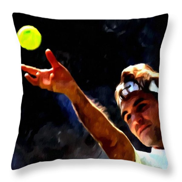 Roger Federer Tennis 1 Throw Pillow by Lanjee Chee