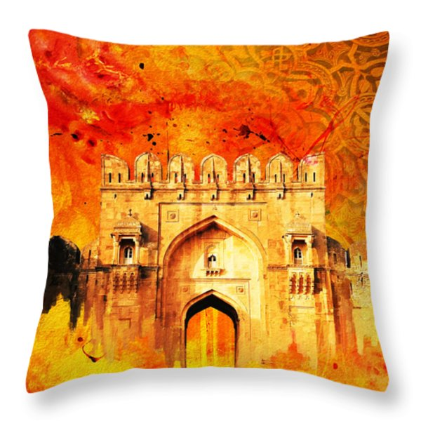 Rohtas Fort 01 Throw Pillow by Catf
