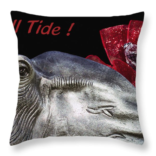 Roll Tide - 14 Time National Champions Throw Pillow by Kathy Clark