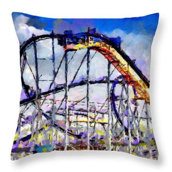 Roller Coaster Painting Throw Pillow by Magomed Magomedagaev