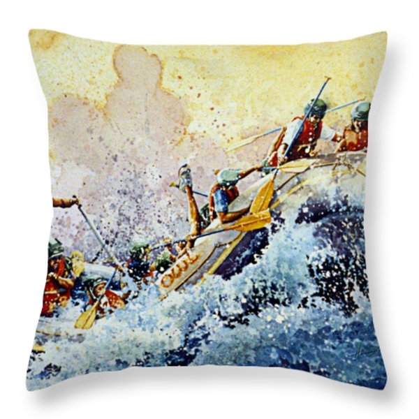 Rollin' Down The River Throw Pillow by Hanne Lore Koehler