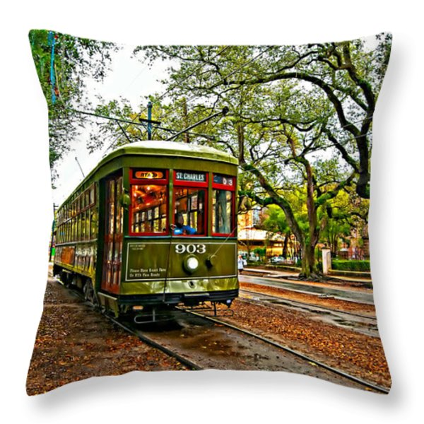 Rollin' Thru New Orleans Painted Throw Pillow by Steve Harrington