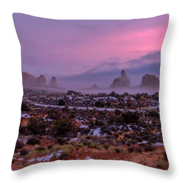 Rolling Mist Through Arches Throw Pillow by Chad Dutson