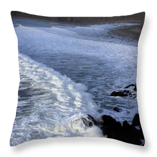 Rolling Waves Throw Pillow by Aidan Moran
