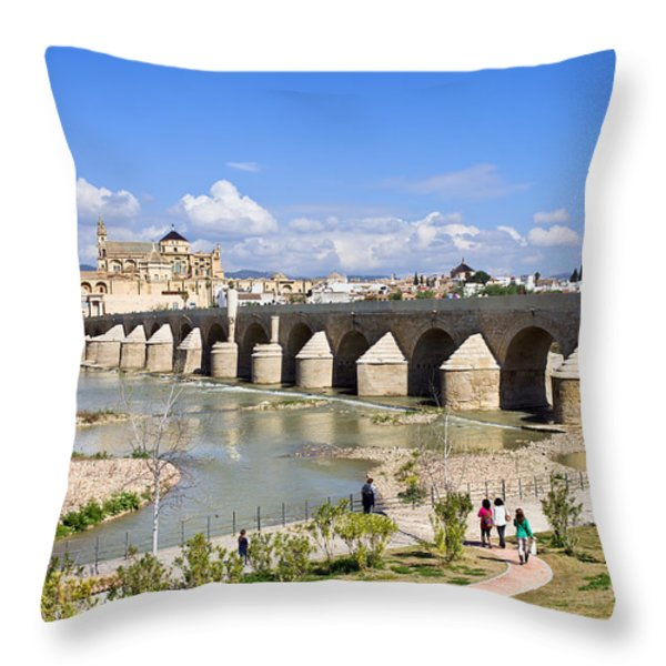 Roman Bridge in Cordoba Throw Pillow by Artur Bogacki