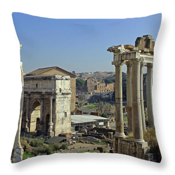 Roman Forum  Throw Pillow by Tony Murtagh