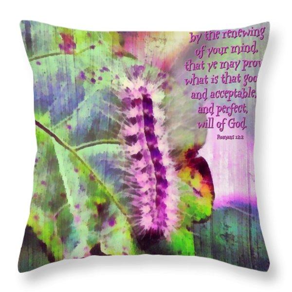Romans 12 2 Throw Pillow by Michelle Greene Wheeler