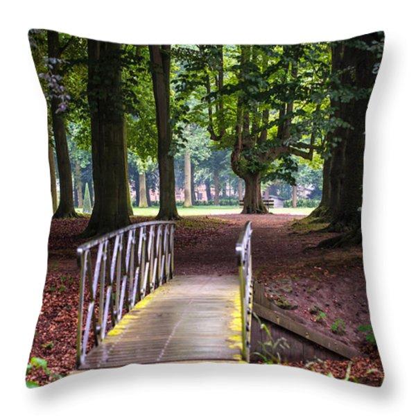 Romantic Bridge To Shadow Place. De Haar Castle Throw Pillow by Jenny Rainbow