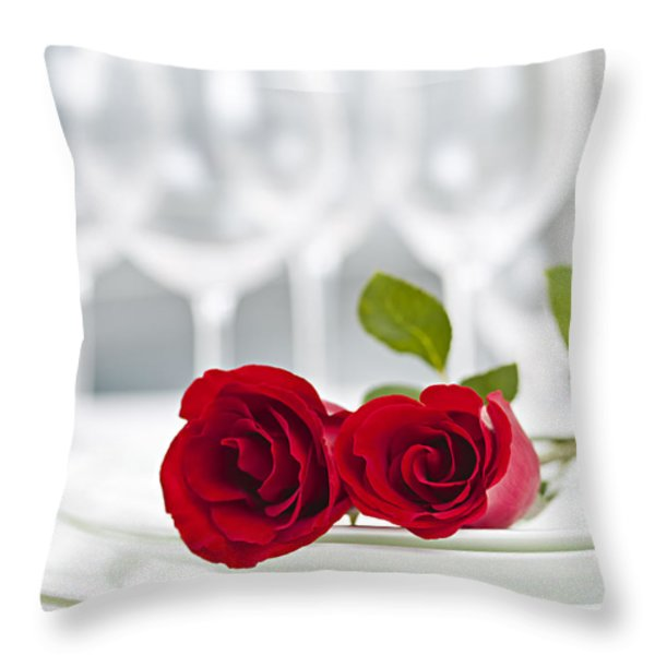 Romantic Dinner Setting Throw Pillow by Elena Elisseeva