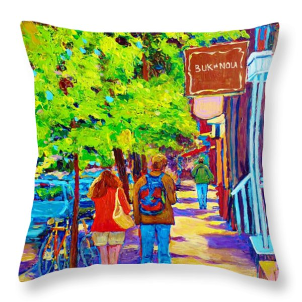 Romantic Stroll Along Rue Laurier Montreal Street Scenes Paintings Carole Spandau Throw Pillow by Carole Spandau